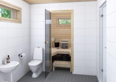 ES/PS mallien sauna, kuusi.